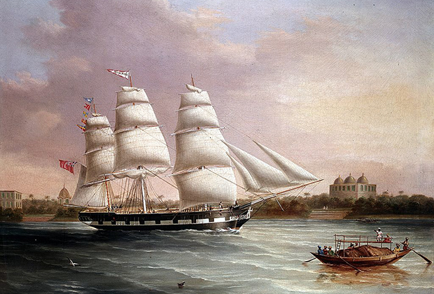 Английский корабль приближается к Бомбею