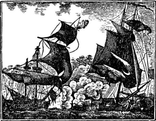 Капитан Томас Тью атакует индийский корабль
