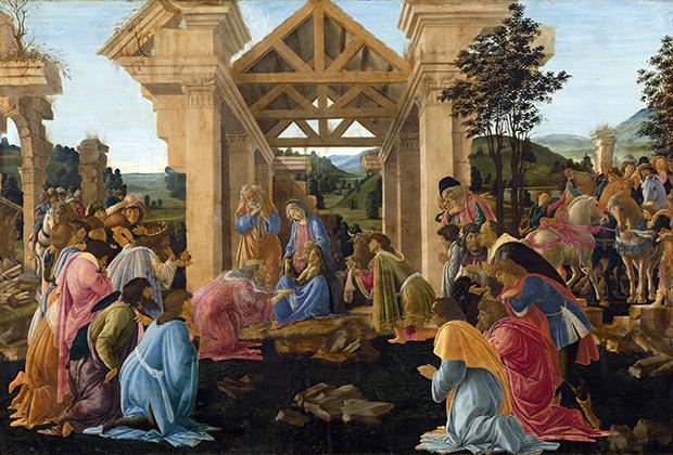 Картина Сандро Боттичелли «Поклонение волхвов». Продана в 1931 году. Сейчас находится в Национальной галерее искусства в Вашингтоне (США)