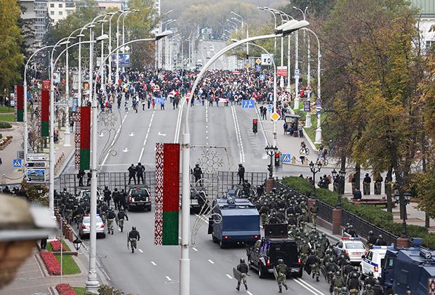 Акция несогласных с результатами президентских выборов в Минске