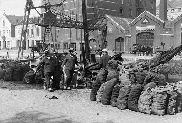 Рыбаки разгружают мешки с раковинами моллюсков на причале в Брюсселе. 1950 год