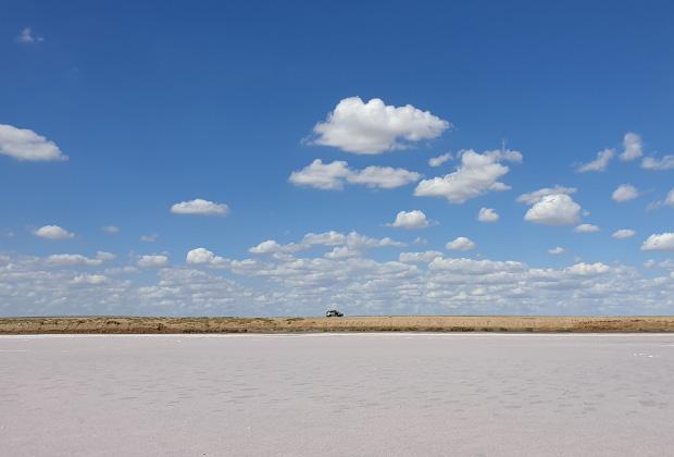 Вид на Розовое озеро