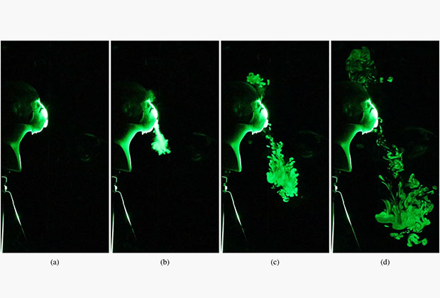 Распределение микрокапель при дыхании в респираторе N95 с клапаном для выдоха