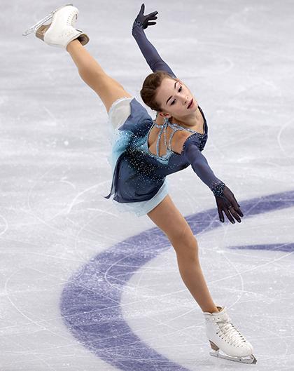 Софья Акатьева на этапе Гран-при среди юниоров в сезоне-2021/2022
