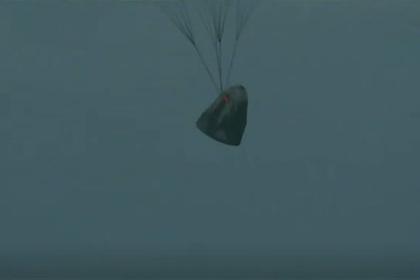 Приводнение корабля SpaceX с гражданским экипажем сняли на видео
