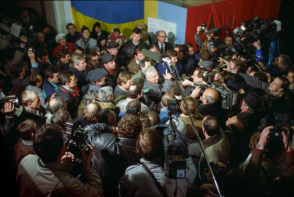 Леонид Кравчук после победы на президентских выборах в 1991 году