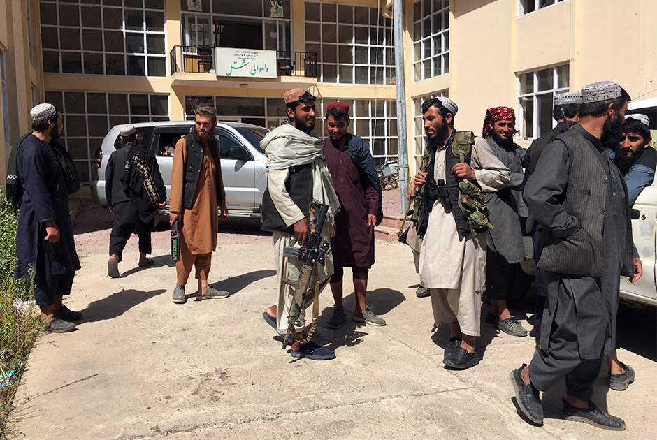 Taliban soldiers stand guard at the Shotal district of Panjshir province northeastern of Afghanistan, Wednesday, Sept. 8, 2021.