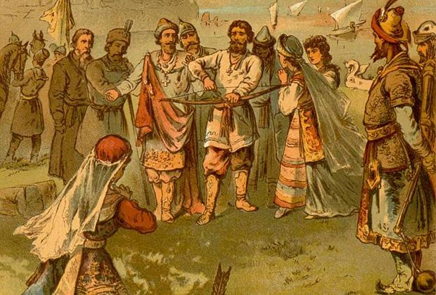 Фрагмент иллюстрации Николая Каразина «Дунай Иванович и Настасья»