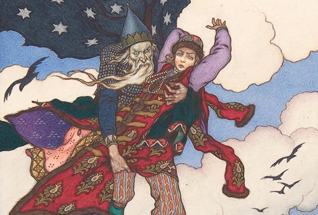 Иллюстрация Бориса Зворыкина «Кощей Бессмертный похищает Марью Моревну»